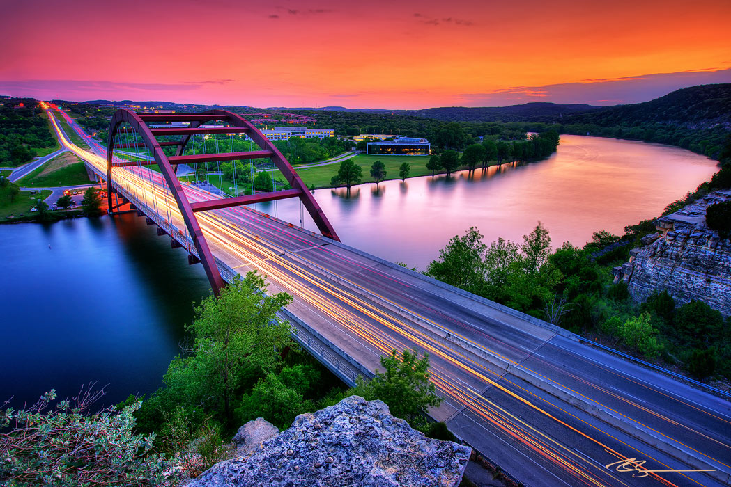 overlooking the 360 bridge in austin, texas