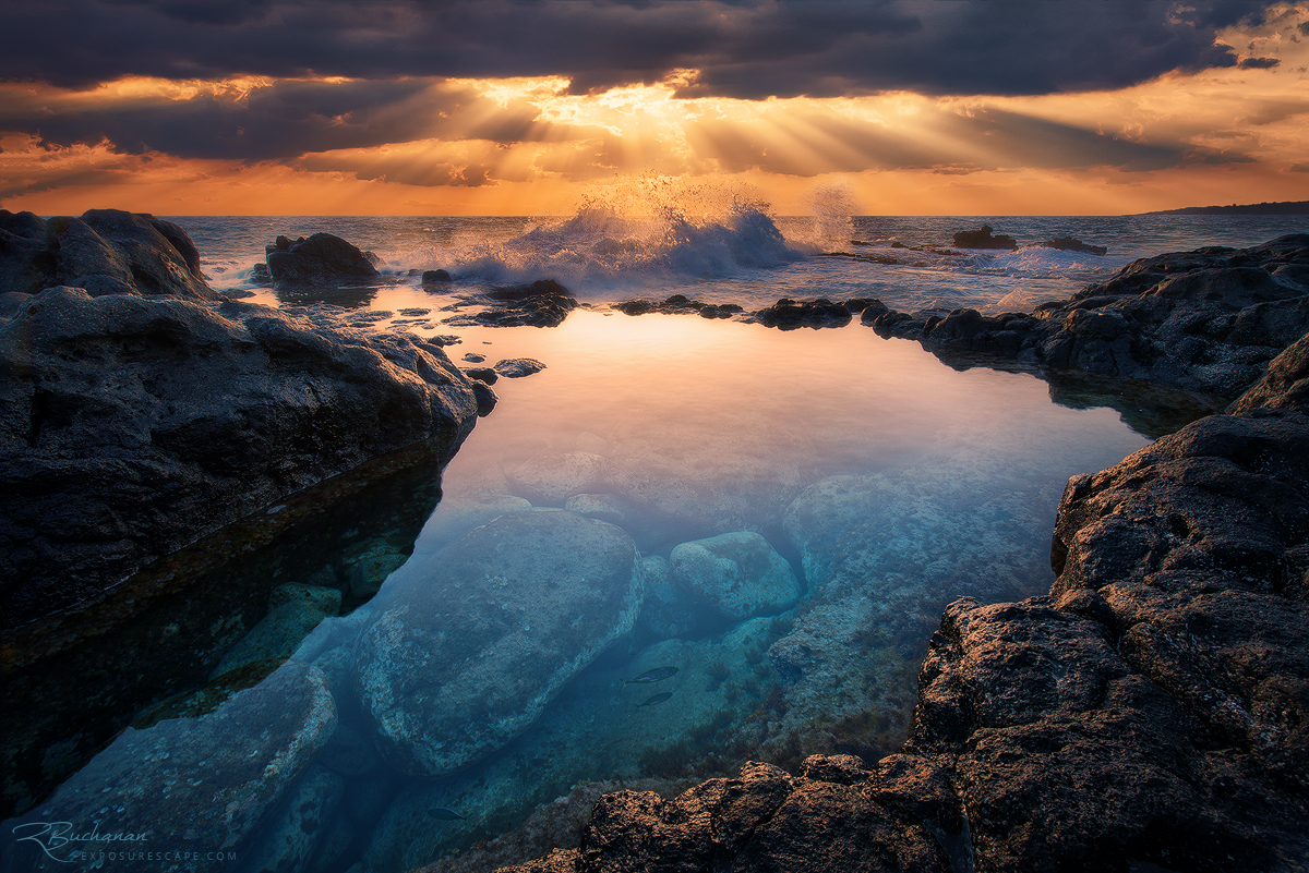 seascape kauai hawaii ocean fish waves crashing sun rays