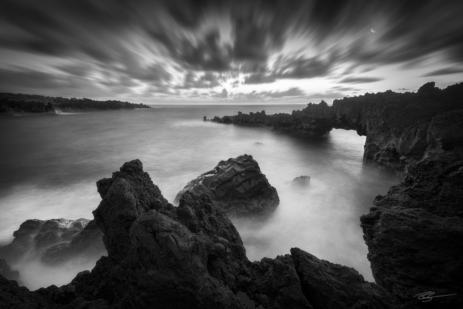 long exposure state park hawaii black and white