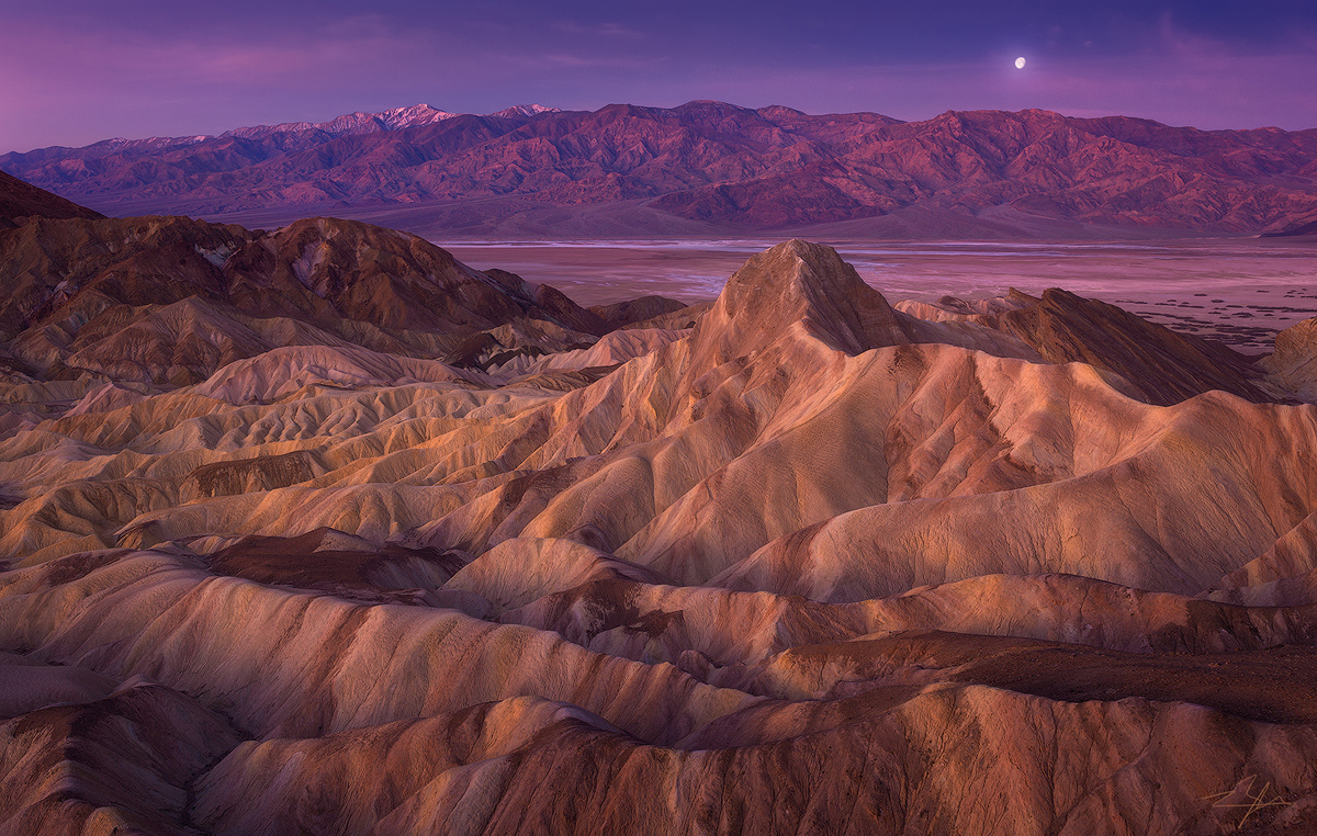 Zabriskie Point Death Valley National Park manly beacon moon