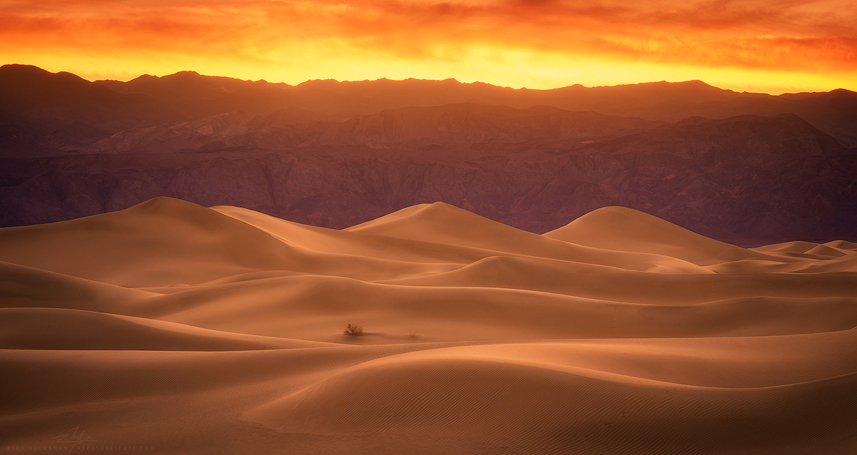 dunes in death valley national park at sunset